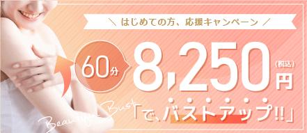 はじめての方、応援キャンペーン 60分 8,250円でバストアップ!!